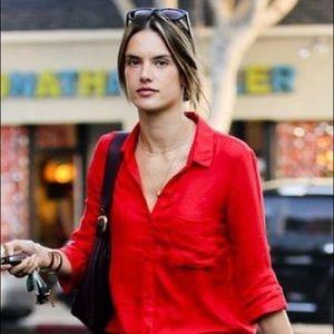 NWOT Bella Dahl Button Up Red Blouse Shirt